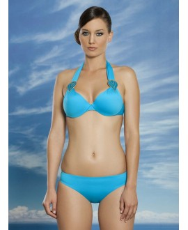 Moulded halter two piece swimwear with metal ornament