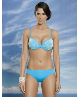 Pearl embroider halter bikini with removable push-up pads