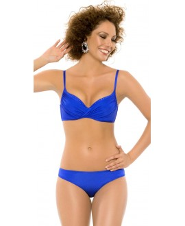 Preformed deep cup with underwire, removable air push-up with Swarovski