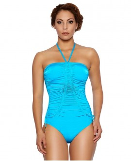 Shape controll one piece swimwear-bandeau, V ruched, removable double strapped