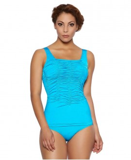 Wide strapped, ruched tankini