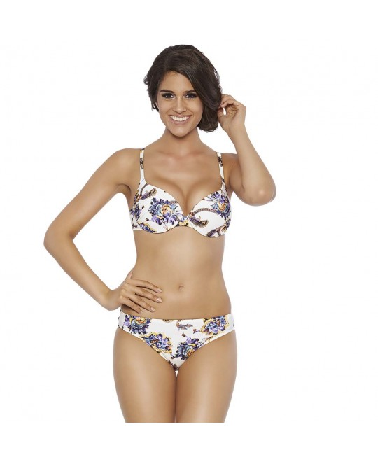 Preformed deep cup with underwire, wide straps, removable air push-up
