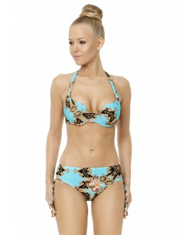 Bikini with preformed deep cup with removable air push-up